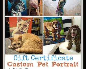 Custom Pet Portrait GIFT CERTIFICATE by Robert Phelps;Dog Lover Gift, Gift Certificate, Gift Card, Wedding Gift, Birthday Gift, Pet Portrait