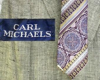 burgundy blue Paisley tie -wide necktie -  vintage 70's tie - silk necktie - gift for him -vintage Paisley tie - mod necktie - # T 60