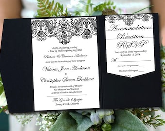 "Pocketfold Wedding Invitation Template Set - Vintage Lace Wedding ""Chantilly"" Black 5 x 7 Pocket Fold Invitation RSVP, 2 Insert - You Print"
