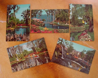 Five Vintage 1960s Unused Postcards from Cypress Gardens Florida