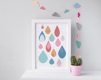 Colourful Raindrops Nursery Print - A4, A3, A2, Giclee Print, Nursery Decor, Colourful Wall Art,  Bright Rain Drop Pattern
