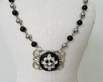 Repurposed Black and Silver Bead Stainless Steel Necklace~Repurposed Vintage Jewelry Pendant Necklace~Vintage Button Rhinestone Necklace