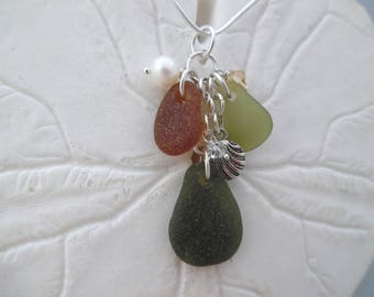 Shell Sea Glass Necklace Pendant Charm Seashell Jewelry Pearl Sterling