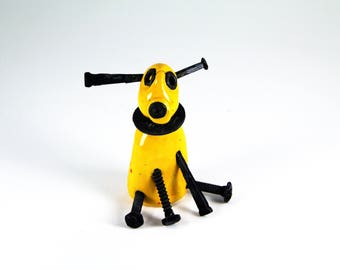 screwy dog, bolt dog, ceramic dog, handmade dog, dog figurine, yellow dog, dog