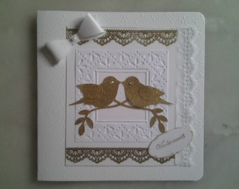 white gold wedding card