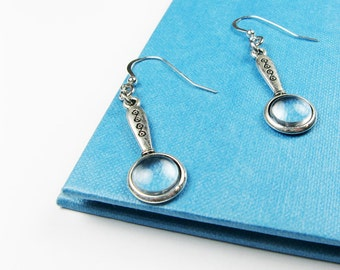 Magnifying Glass Earrings (Librarian Jewelry for Detective Story or Mystery Readers, Sherlock or Nancy Drew Fans)