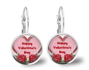 Valentine Earrings Tile Earrings Valentine Jewelry Holiday Earrings Holiday Jewelry Beaded Jewelry Heart Jewelry
