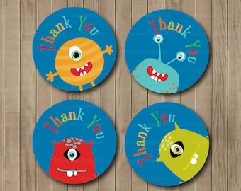 Thank you Circles, Thank you labels,  Funny Monster, Party Circles, Digital, Printable 2 inch, INSTANT DOWNLOAD  1132