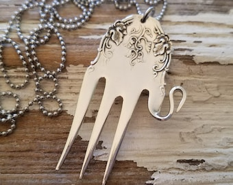 Elephant-Necklace-Charm-Upcycled-Fork-Jewelry-Spoon-Engraved-Stamped-Silver-Pendant-Hammered-Vintage-Antique-Mammoth-Recycled-Trunk-Luck