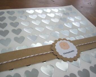"108 Silver Heart Stickers, Silver Foil Heart Seals, Heart Seal - 3/4"" x 3/4"""