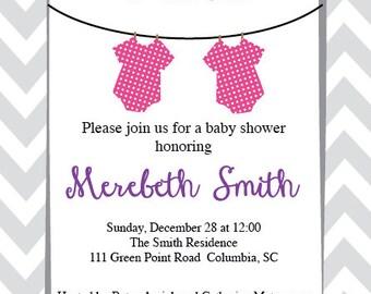 Twin Clothesline Baby Shower Invitation
