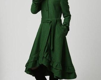 designer coat, green coat, winter coat, womens winter coat, Maxi Coat, Hooded Coat, women wool coat, hoodie coat, Wool coat, long coat  1120