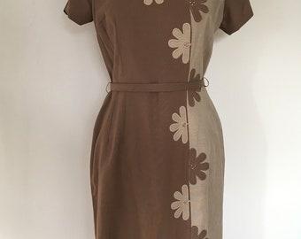 Unique Handmade Vintage 1960s Smart Floral Detail Day Dress