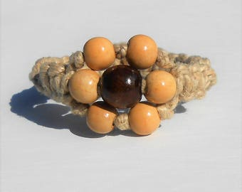 Thick Hemp Bracelet with Flower from Wooden Beads