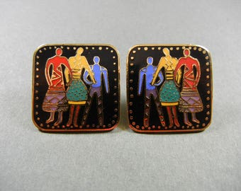 Laurel Burch familia earrings, Laurel Burch, Laurel Burch Familia, Familia earrings, rare Laurel Burch earrings, colorful Laurel Burch
