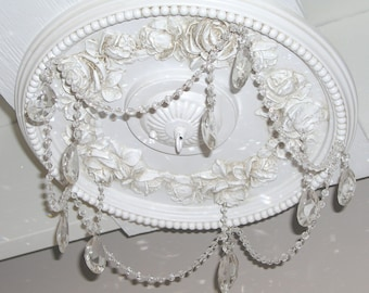 "Crystal Shabby Rose 16"" Diameter Ceiling Medallion for Chandeliers"