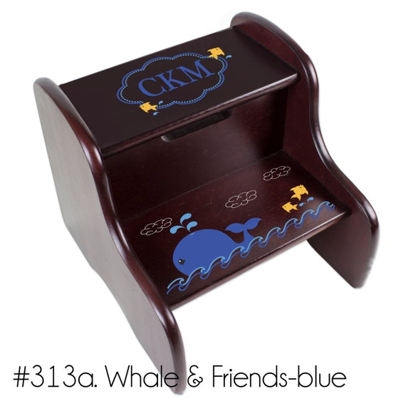 Personalized Childs Whale Step Stool Sea Life Nautical Nursery