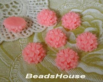 711-00-CA  6pcs 14mm  Mini Tansy Flower Cabochons - Hot Pink