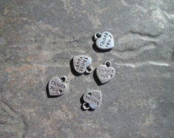 CLEARANCE Heart Shaped Thank You Charms in antique silver package of 5 charms
