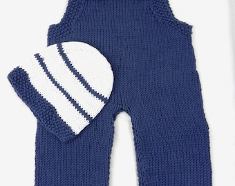 Hand knitted baby + beanie cotton cotton romper trousers pants Ringl cap