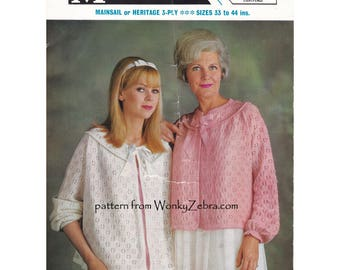 Vintage Knit Knitted Knitting Pattern Bed Jacket BedJacket PDF 959 from WonkyZebra