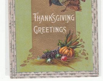 Samson Bros. Thanksgiving Antique Postcard,Gold,Embossed,Unused