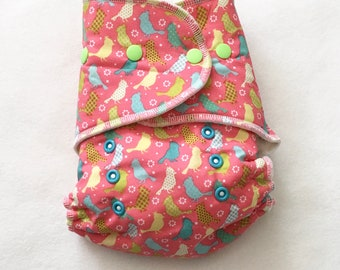 One Size Fitted Hybrid Cloth Diaper Spring Easter Birds