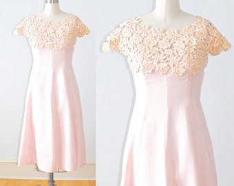 1940s Dress, 40s Garden Party Dress, Pink Lace 40s Dress, Summer Romance