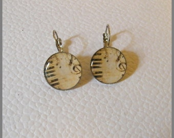 """Music"" - resin Cabochon and silver plated Leverback Earrings"