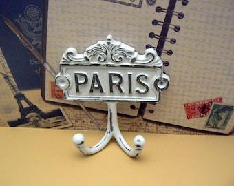 Paris Cast Iron Wall Hook WHITE French Shabby Elegance Design Art Decor Paris Jewelry Towel Leash Key Mudroom Double Hook