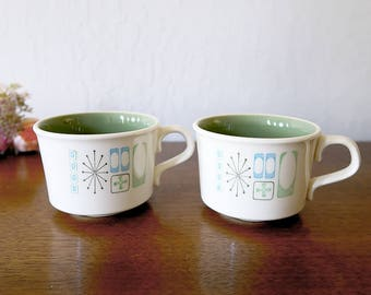 2 Taylor Smith and Taylor Cathay cups,  Mid Century dinnerware, Atomic Taylor Smith coffee cups / tea cups, Taylorstone