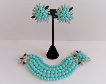 Wow!  Vintage Signed Schiaparelli Turquoise Bead & Rhinestone Bracelet and Earrings Set