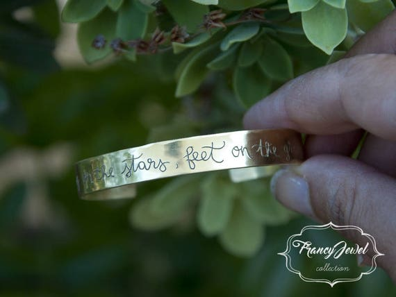 Engraving bracelet, freehand made engraved, custom bracelet, brass cuff, nichel free, made in Italy, customized writing, handmade jewelry