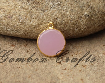 Rose Hydro Quartz 10mm Round Both Side Flat Smooth 925 Sterling Silver Gold Plated Bezel Pendant