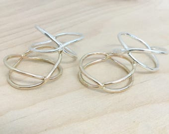 Crisscross Ring - Silver or Gold