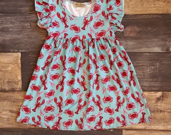 Lobsters and Crabs Print Dress