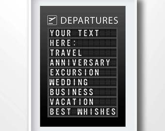 Personalized Departures Board, Custom Airport board, Customized flight board, customized print, travel poster, traveler gift, vacation, 9096