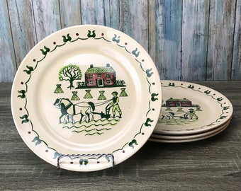 Metlox Poppytrail 10\  Dinner Plates Set of 4 - Folk Art - Homestead Provincial - & Rustic dinner plates | Etsy