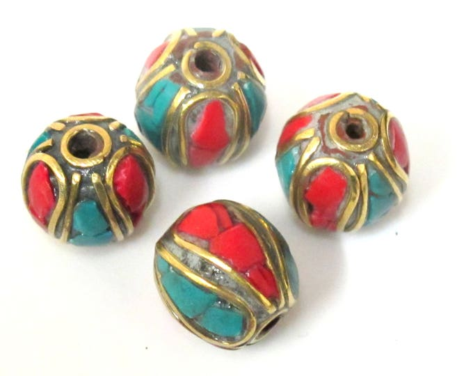 2  beads - Ethnic Nepal Tibetan brass bead with turquoise coral inlay - BD962