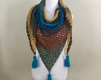 Handmade vintage boho gypsy hippie lacy crochet triangle scarf shawl wrap with tassels metal beads and 70s colo