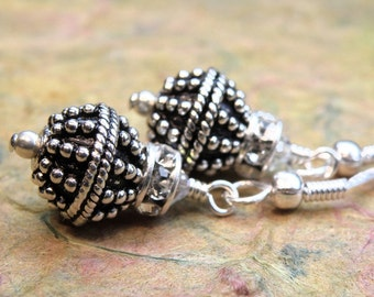 Silver Ball Earrings, Bali Silver, Sterling Silver Drop, Metal Earrings, Oxidized Round, Rhinestone Accent, Everyday Handmade Jewelry