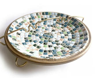 Mid Century Mosaic Ashtray, Vintage Mosaic Ashtray, Two Piece Mosaic Ashtray, Gold Green Blue Mosaic Ashtray, Gold Metal and Mosaic Ashtray