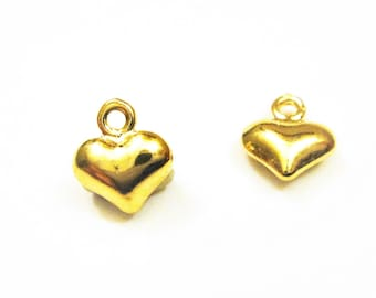 2 pc. Vermeil, 18k gold over 925 sterling silver tiny Heart Charm, shiny gold  puffy heart, small gold heart, heart, vermeil puffy heart