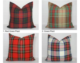 Plaid Red Burgundy Cobalt Green Cotton Plaid Pillow Cover Home Decor by HomeLiving