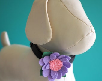 Purple Pink Collar Flower, Handmade Daisy Felt Flower for Dogs or Cats Wedding Photos, Pet Collar Girl Dog Bow Accessory Velcro Attachment