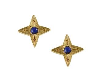 Sapphire Compass Star Earrings, Mother's Day Gift, Star Earrings, Sapphire Earrings, Compass Earrings, Gemstone Earrings, Sept Birthstone