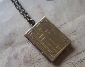 Book Locket necklace ~ bronze ~.