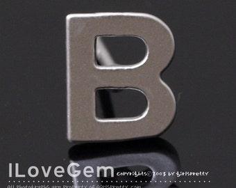 NP-1608 Matt Rhodium Plated, Alphabet, Upper case, Initial Stud Earrings, B, 2pcs