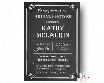 Chalkboard Bridal Shower Invitation (Printable) Chalkboard Bridal Shower Invitations - Chalkboard Bridal Shower Invite