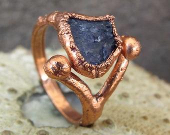 Rough tanzanite ring | Raw tanzanite electroformed ring  | Tanzanite copper ring